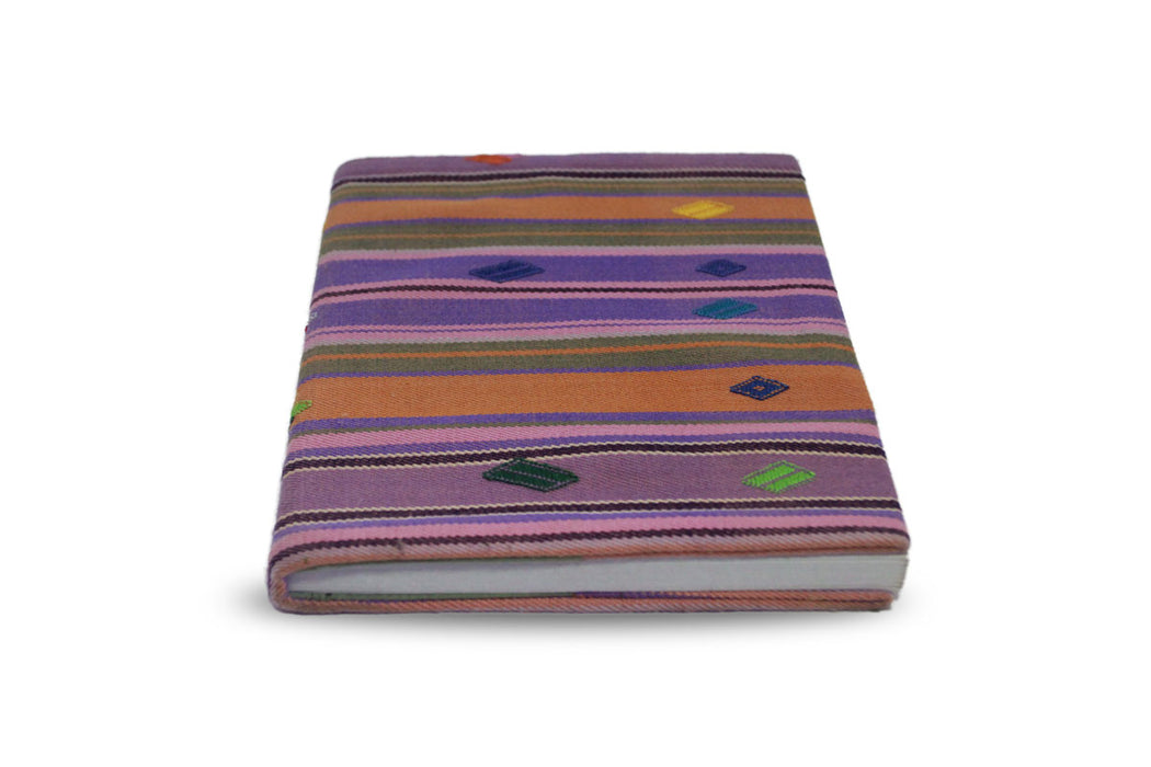 Handmade lined journal-notebook Bhutanese dyed cotton fabric cover - Druksell.com