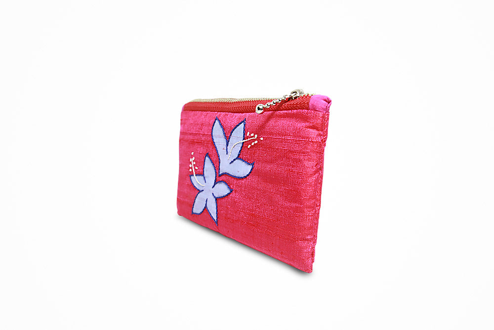 Organic dyed traditional design pink zipped purse - Druksell.com