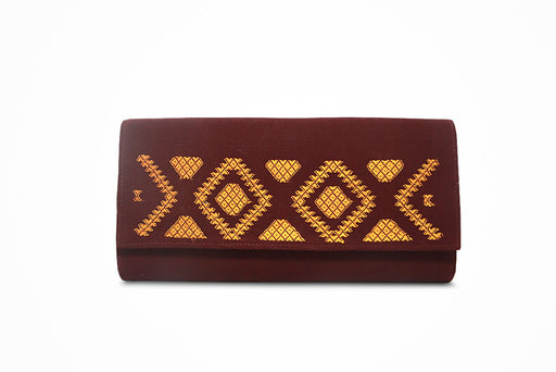 Women traditional wallet (maroon with yellow motif) - Druksell.com