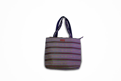 Sling bag with blue and gray stripes