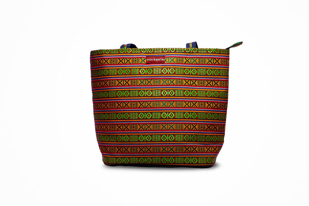 Striped green and orange Sling bag