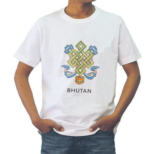 Man wearing a Bhutan made tshirt with eternal knot