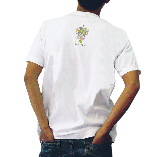 Man wearing a Bhutan made tshirt with eternal knot back view