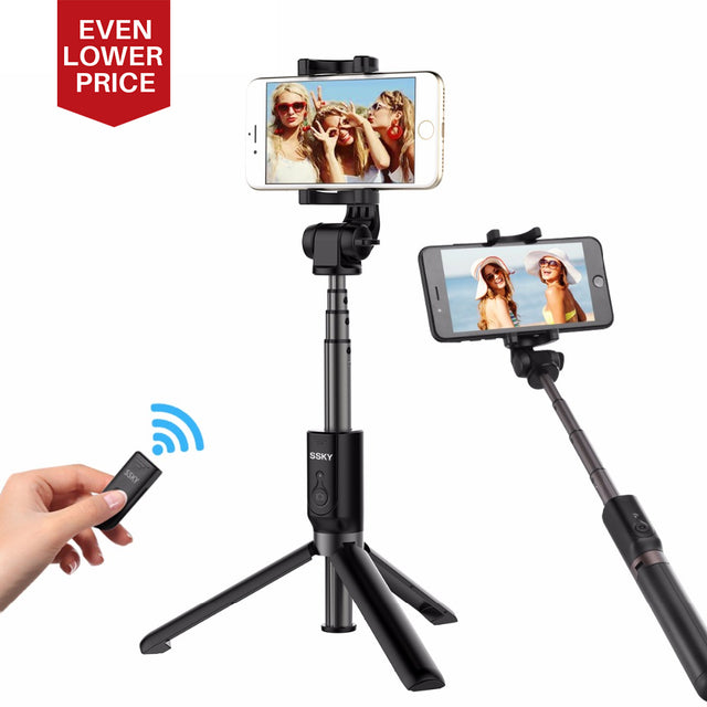 Fortune Digital Tripod Phone Selfie Stick Extendable Monopod Bluetooth Remote Control for smart phones