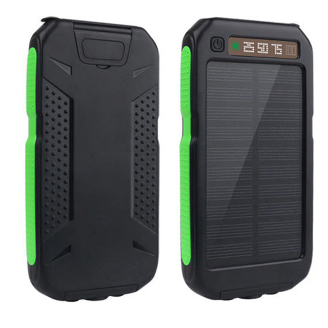 1x Wama Solar Panel Charger dual-USB 10000mAh Power Bank Waterproof Outdoors External Portable LCD display Over-charge Protected