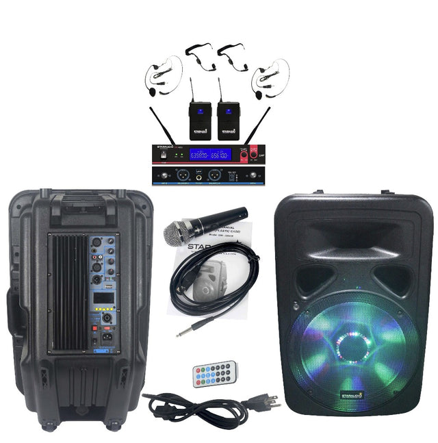 DJ Powered Active BT Speaker With LED RGB Light & Wireless Headset Microphone 1 Wired Mic SML-15RGB