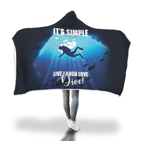 Image of Live Laugh Love Dive! Hooded Blanket