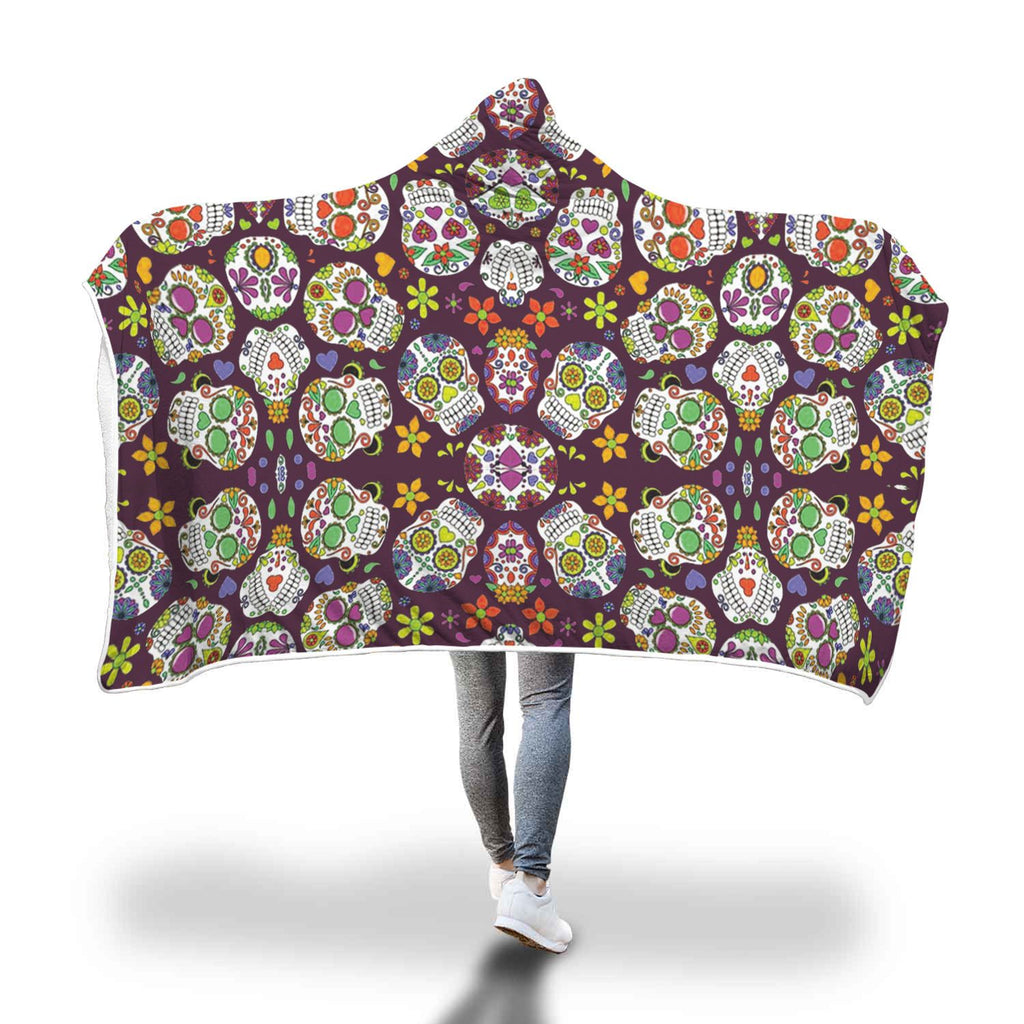 Sugar Skull Hooded Blanket - Perfenq