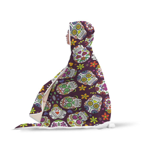 Image of Sugar Skull Hooded Blanket - Perfenq
