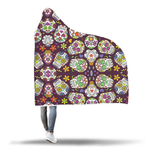 Image of Sugar Skull Hooded Blanket