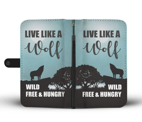 Image of Live Like a Wolf Phone Wallet Case - Perfenq