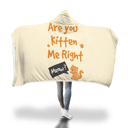 Are You Kitten Me Hooded Blanket - Perfenq