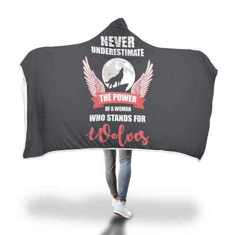 Woman Wolf Lover Hooded Blanket