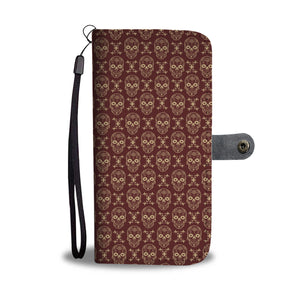 Skull Pattern Phone Wallet Case - Perfenq