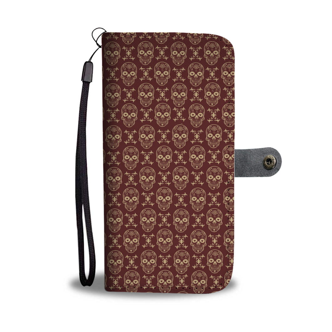 Skull Pattern Phone Wallet Case