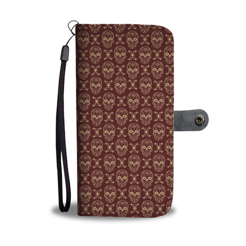 Image of Skull Pattern Phone Wallet Case - Perfenq
