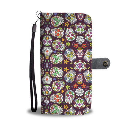 Sugar Skull Phone Wallet Case - Perfenq