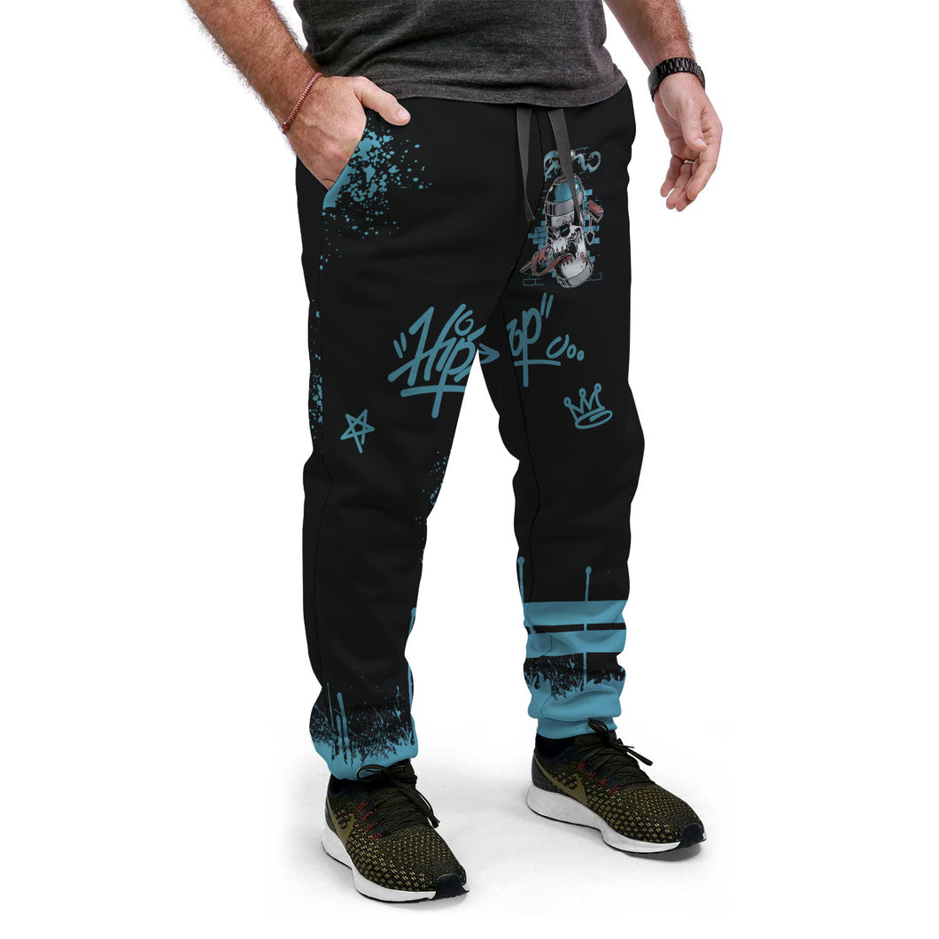 Black & Blue Custom Designed AOP Joggers - Perfenq