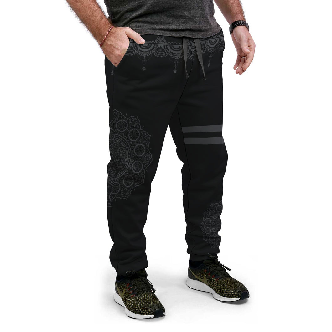Black Geometry Custom Made Joggers - Perfenq