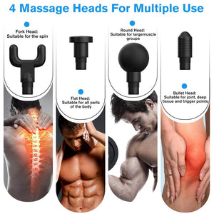 4 in 1 Electric Deep Tissue Massage Gun for Muscle Relaxation & Pain Relief - Perfenq