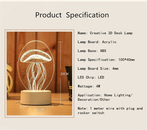 3D Transparent LED Night Lamps