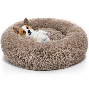 Calming Comfy Faux Fur Round Dog Bed