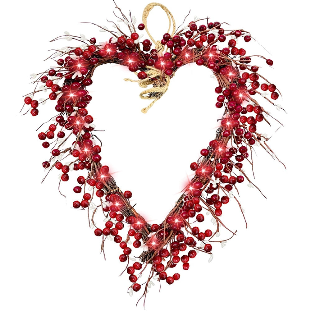 LED Heart Shaped Wreath For Valentines Day