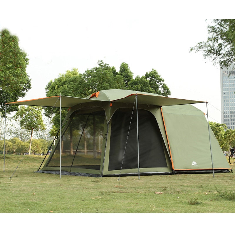 One hall one bedroom 5-8 person use double layer high quality waterproof windproof camping family tent - Perfenq