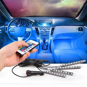 Universal Car Interior RGB LED Lights with Remote Control - Perfenq