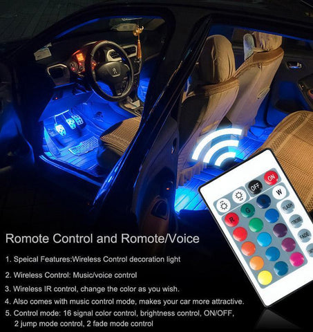 Image of Universal Car Interior RGB LED Lights with Remote Control - Perfenq