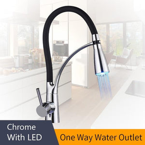 LED Kitchen Faucets with Rubber Design Chrome - Perfenq