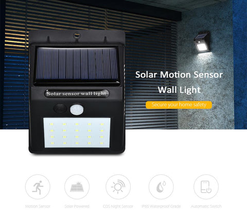 Solar Power Waterproof LED Light with Motion Sensor (Automatic)