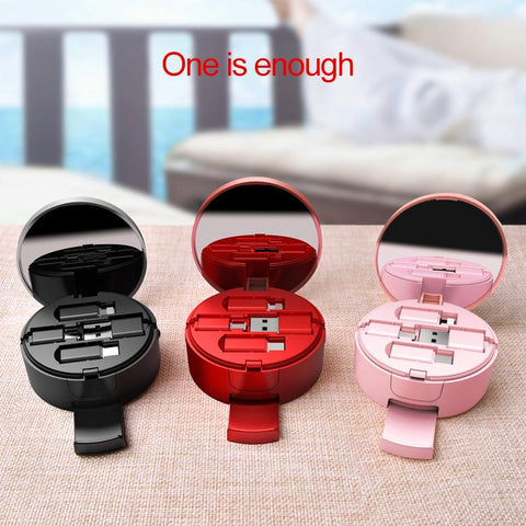 Image of 3 in 1 Retractable Cable with Mirror & Phone Stand