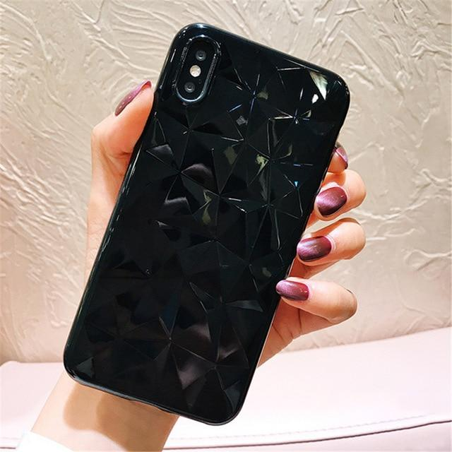 Diamond Texture Transparent iPhone Case - Perfenq