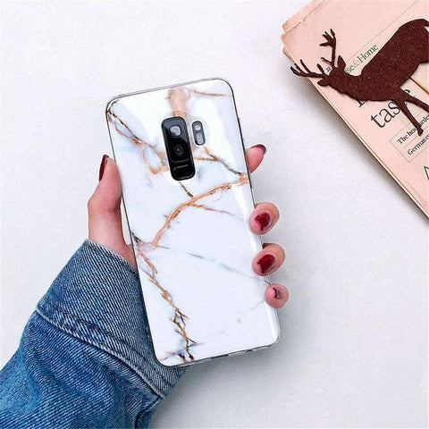 Image of Luxury Marble Phone Case For Samsung Galaxy S10 S10E S9 S8 Plus S7 edge Case Silicone Cover For Samsung Galaxy Note 9 8 Case
