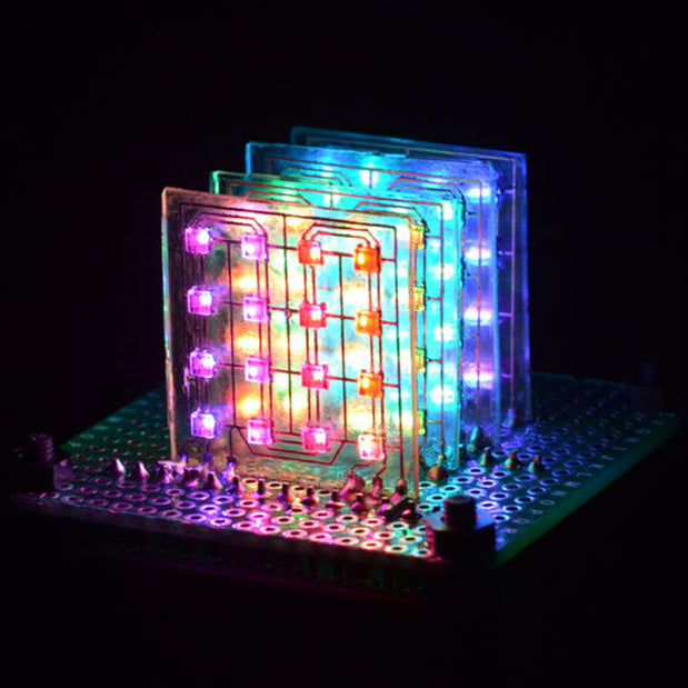 Gorgeous 4×4×4 NeoPixels™ LED Cube Using Glass PCBs