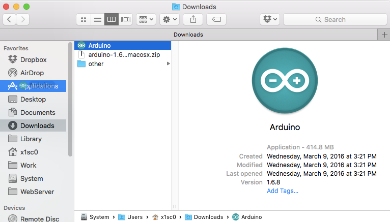 Drag and drop Arduino App onto the Applications directory
