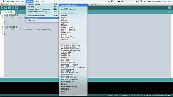 Arduino IDE Library Manager Menu