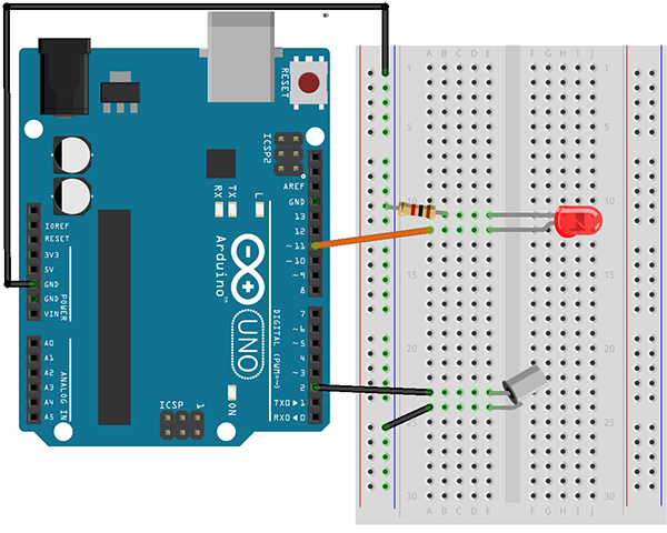 Wiring Diagram for Arduino Tilt Sensor Activity