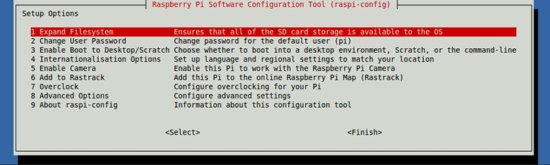 Raspi-config configuration options for the Raspberry Pi