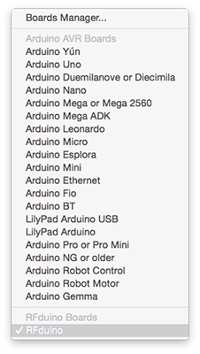 Arduino IDE Boards List during RFduino installation