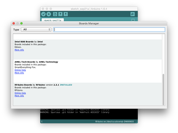 Arduino IDE boards manager during RFduino install