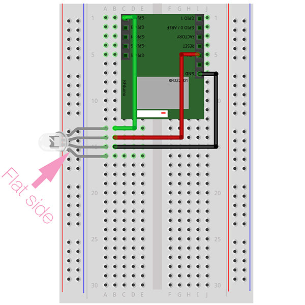 Wiring digram for RGB LED connected to an RFduino