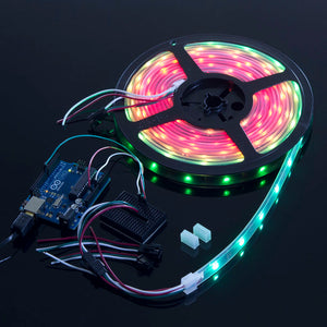 WS2812B/NeoPixels Strip with 30 RGB LED/m (Black PCB, IP68 Waterproof)