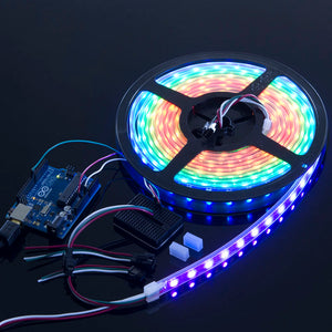 WS2812B/NeoPixels Strip with 60 RGB LED/m (Black PCB, IP68 Waterproof)