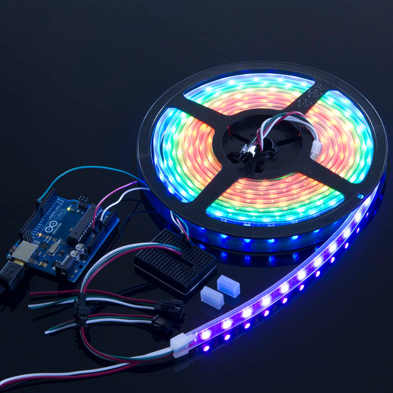 ACROBOTIC WS2812B Strip with 60 RGB LED/m (White PCB, IP68 Waterproof) | NeoPixel-Compatible