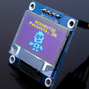 ACROBOTIC 0.96in OLED Graphic Display I2C (SSD1306, 128x64 pixels, Blue/Yellow)
