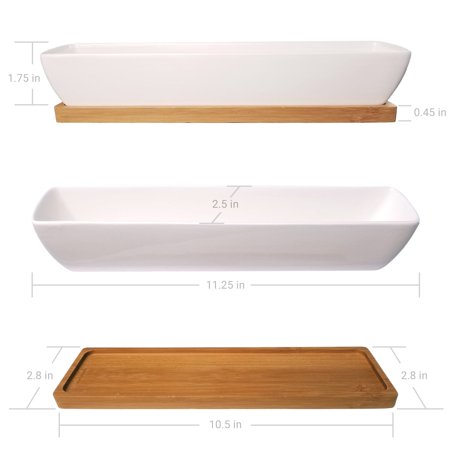 "11"" Long, Rectangle, Mini Succulent Planter - Dimensions"