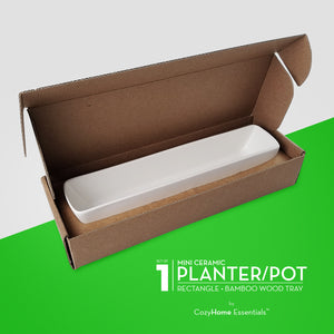 "11"" Long, Rectangle, Mini Succulent Planter - Open Packaging"