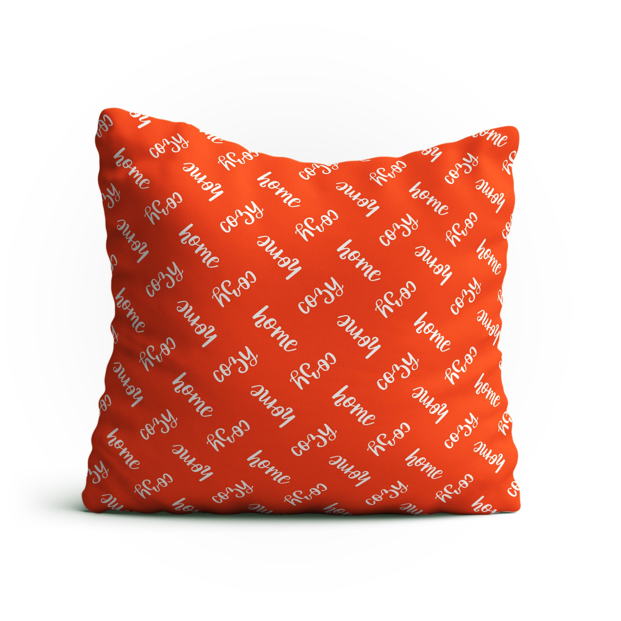 "Throw Pillow -""Cozy Home"" Text Pattern Double-Sided 18x18 Square Pillow Cover with Insert for Couch, Sofa or Bed ( Orange )"